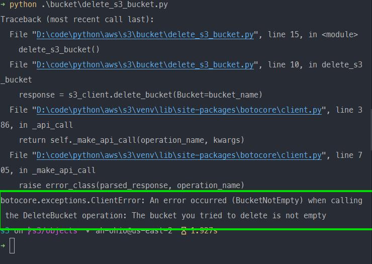 delete-s3-bucket-exception