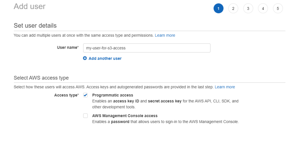 Creating new IAM user step 1 - User name and  programmatic access