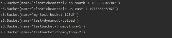 Python listing AWS buckets with Boto3 resource